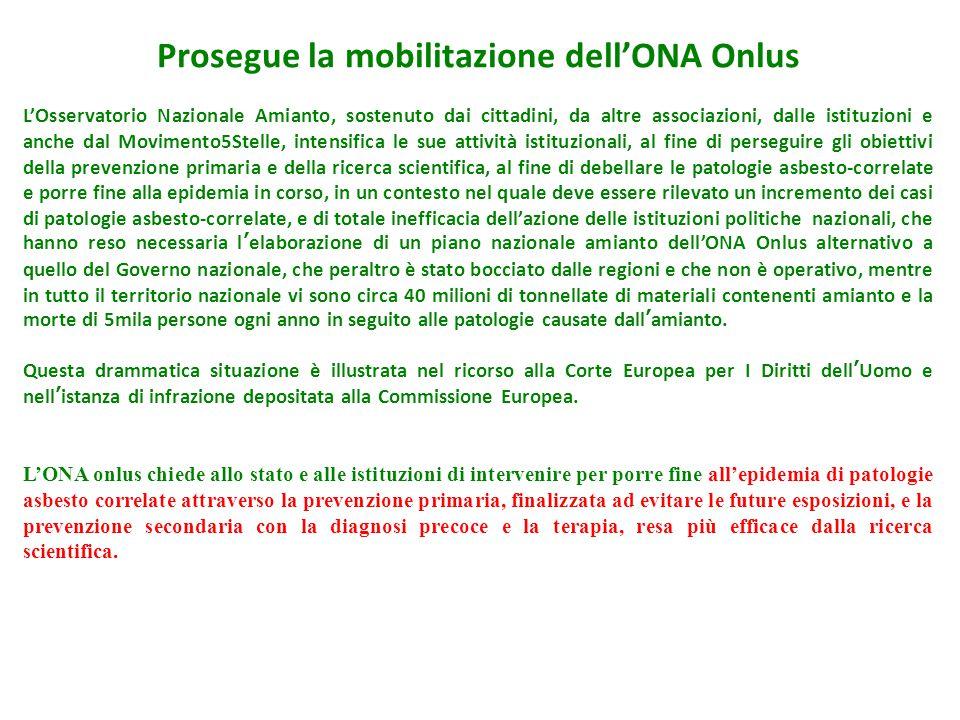 Prosegue la mobilitazione dell'ONA Onlus