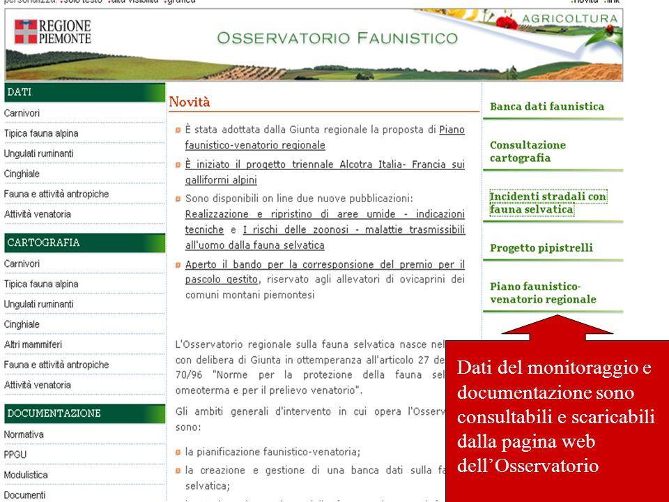 Dati del monitoraggio e documentazione sono consultabili e scaricabili dalla pagina web dell'Osservatorio