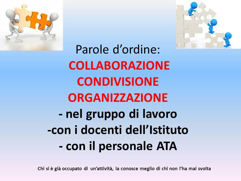 Parole d'ordine: COLLABORAZIONE CONDIVISIONE ORGANIZZAZIONE - nel gruppo di lavoro -con i docenti dell'Istituto - con il personale ATA