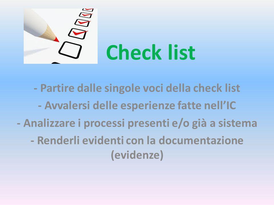 Check list - Partire dalle singole voci della check list