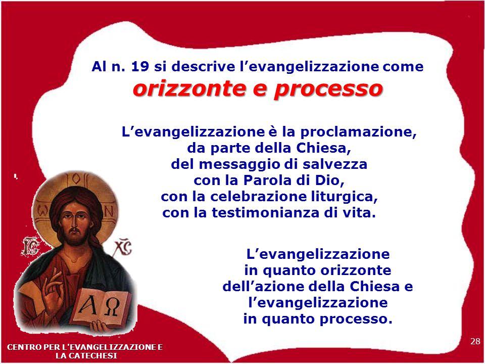 Al n. 19 si descrive l'evangelizzazione come orizzonte e processo
