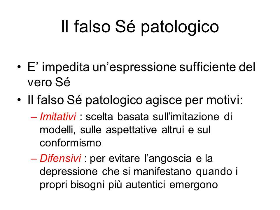 Il falso Sé patologico E' impedita un'espressione sufficiente del vero Sé. Il falso Sé patologico agisce per motivi: