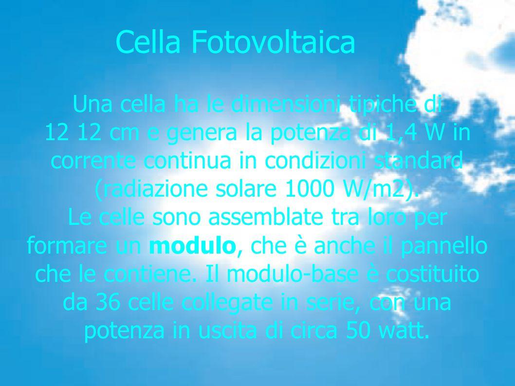 Cella Fotovoltaica Una cella ha le dimensioni tipiche di