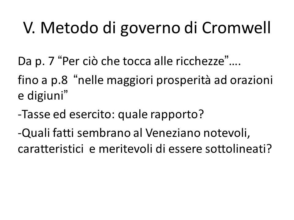 V. Metodo di governo di Cromwell