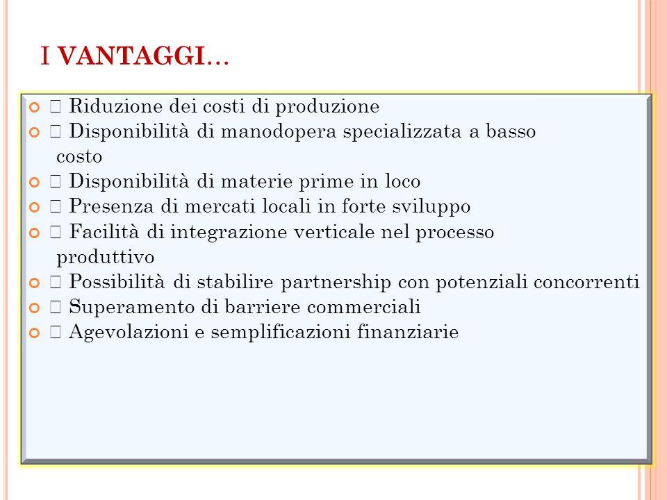 I VANTAGGI… • Riduzione dei costi di produzione