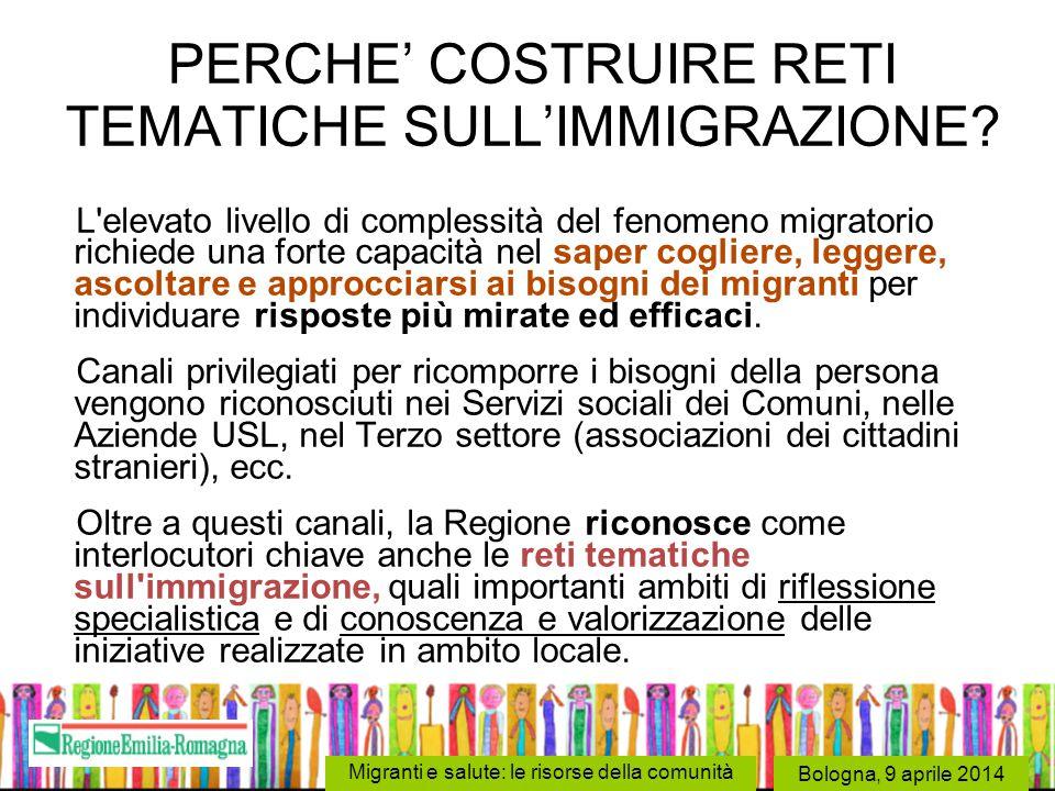 PERCHE' COSTRUIRE RETI TEMATICHE SULL'IMMIGRAZIONE