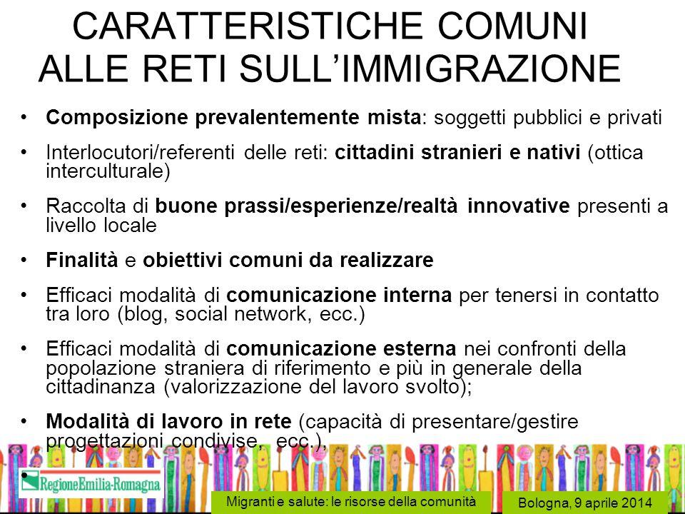 CARATTERISTICHE COMUNI ALLE RETI SULL'IMMIGRAZIONE