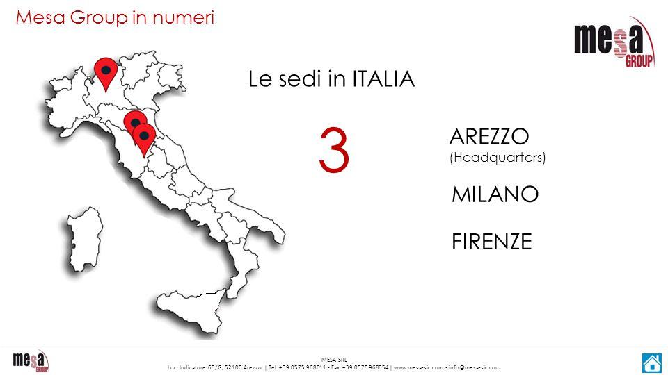 3 Le sedi in ITALIA AREZZO (Headquarters) MILANO FIRENZE
