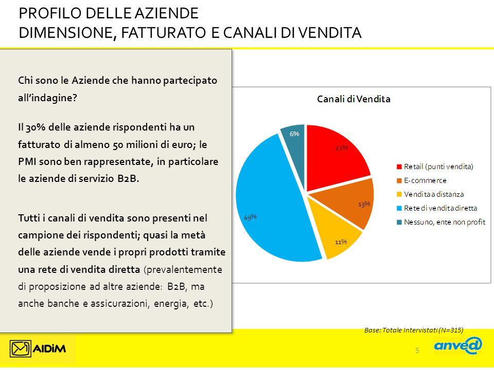 DIMENSIONE, FATTURATO E CANALI DI VENDITA