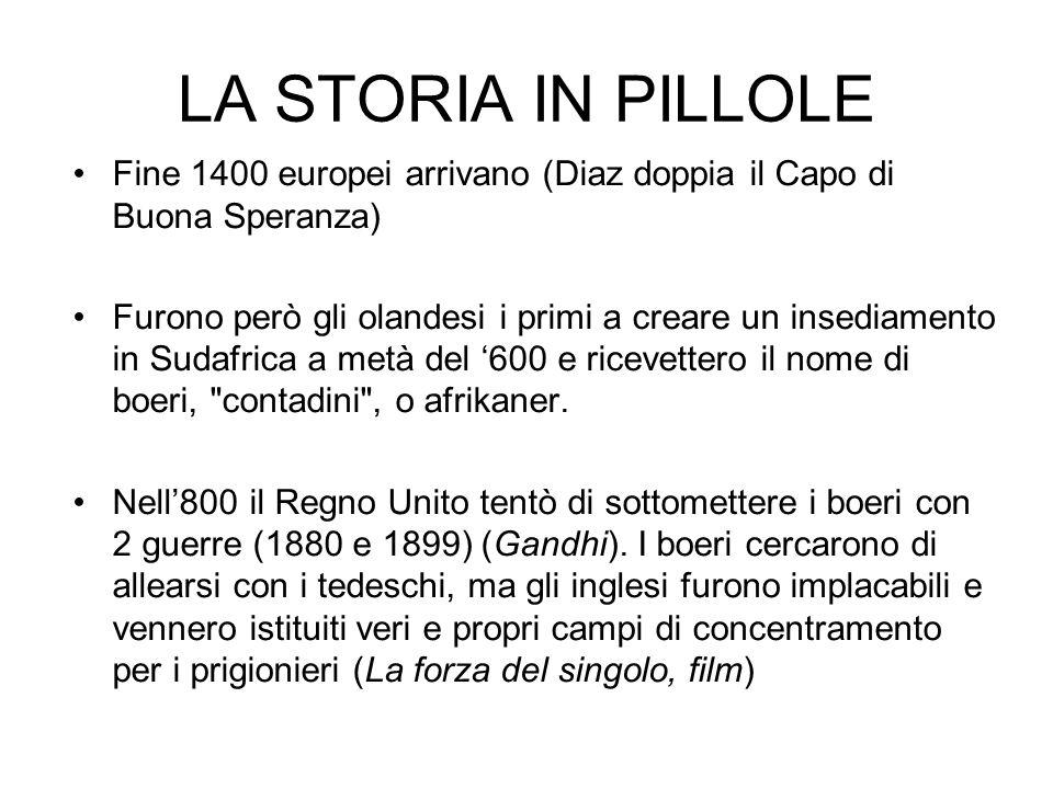 LA STORIA IN PILLOLE Fine 1400 europei arrivano (Diaz doppia il Capo di Buona Speranza)