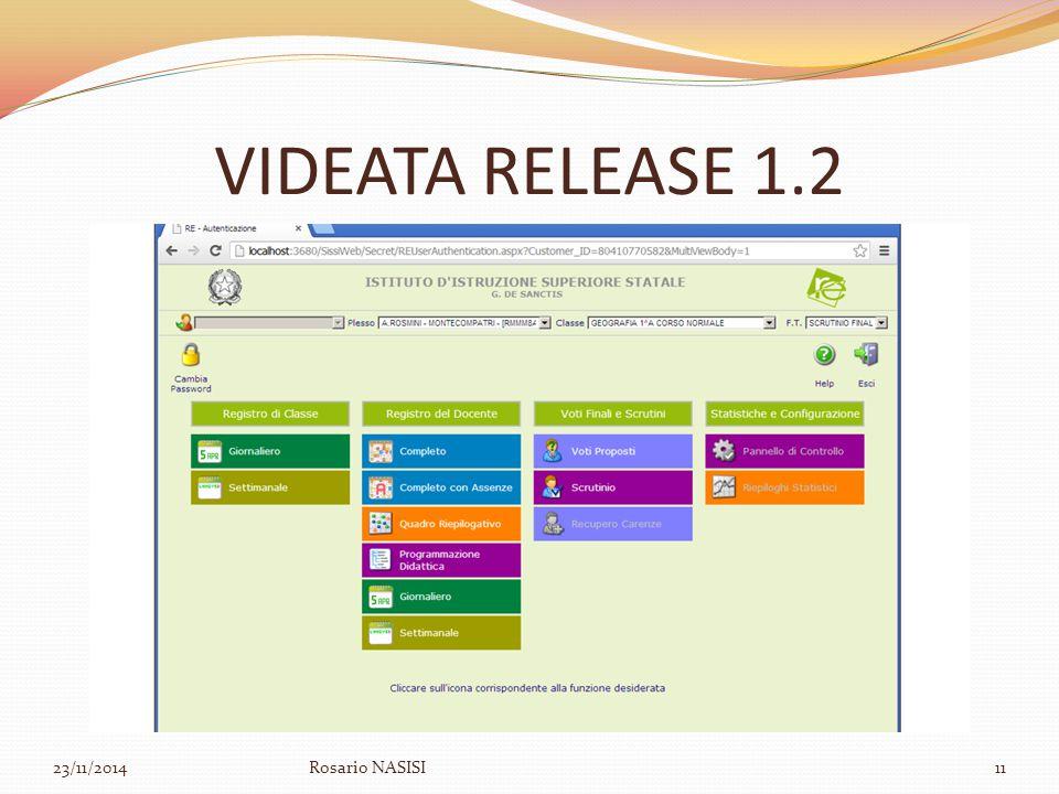 VIDEATA RELEASE 1.2 07/04/2017 Rosario NASISI