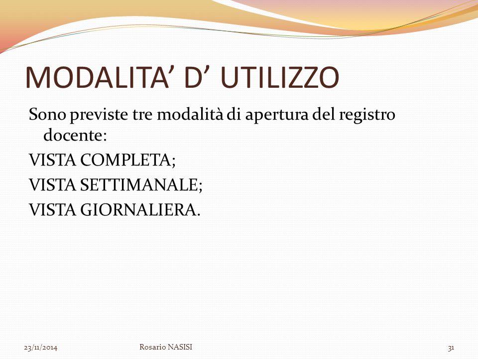 MODALITA' D' UTILIZZO Sono previste tre modalità di apertura del registro docente: VISTA COMPLETA; VISTA SETTIMANALE; VISTA GIORNALIERA.