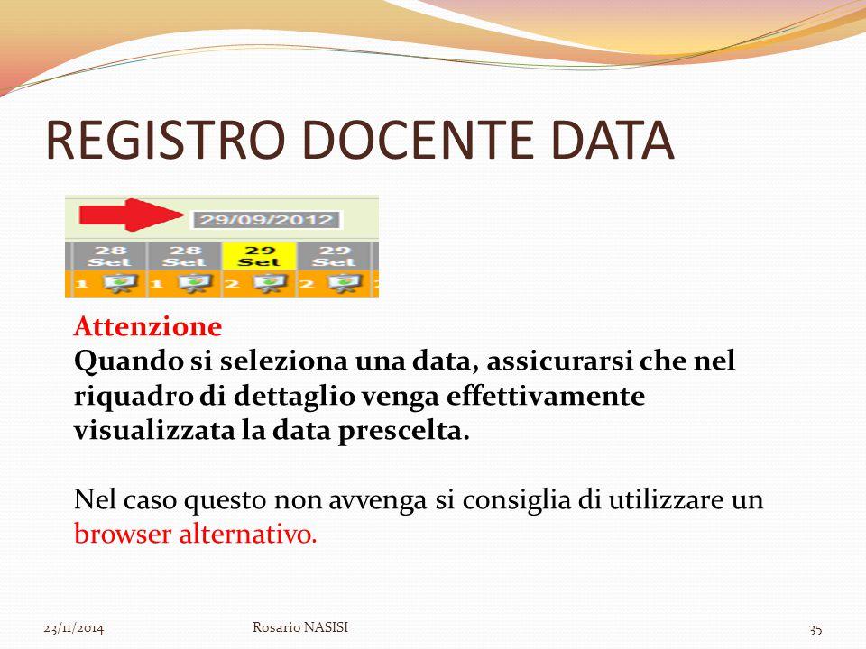 REGISTRO DOCENTE DATA Attenzione