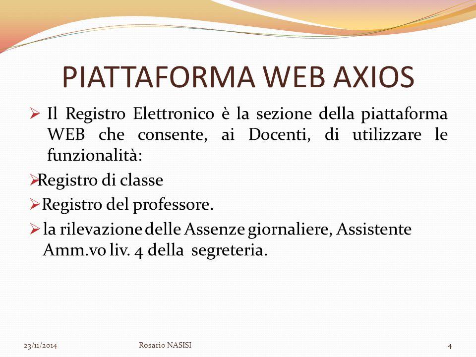 PIATTAFORMA WEB AXIOS Il Registro Elettronico è la sezione della piattaforma WEB che consente, ai Docenti, di utilizzare le funzionalità: