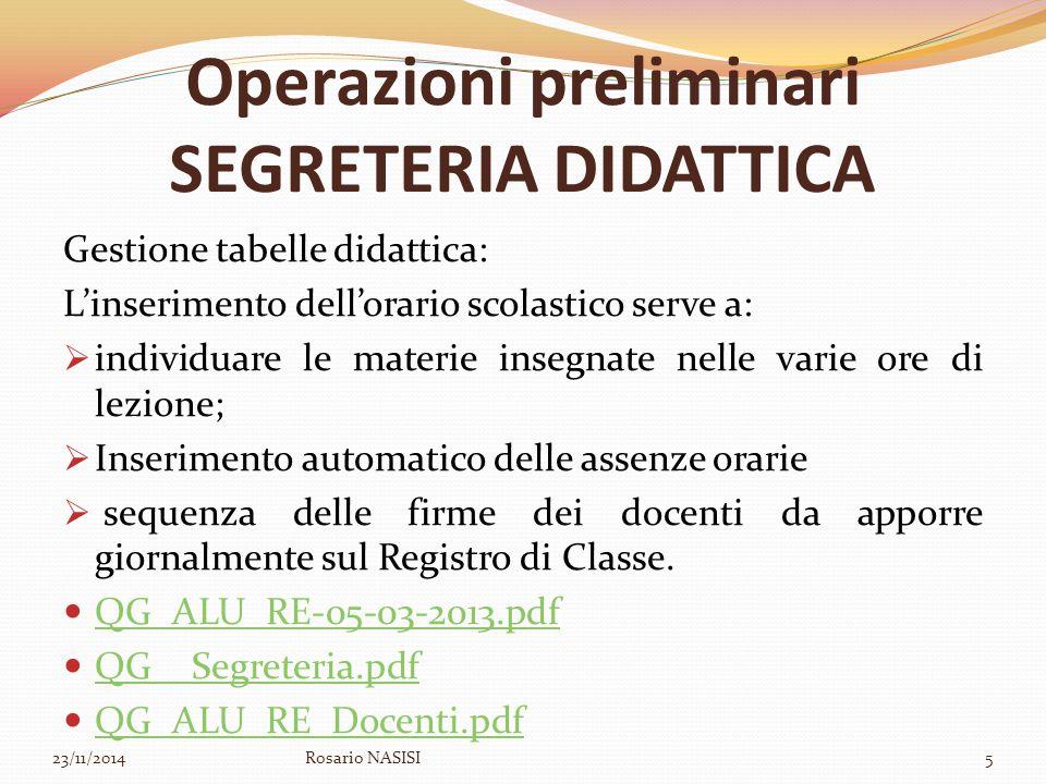 Operazioni preliminari SEGRETERIA DIDATTICA