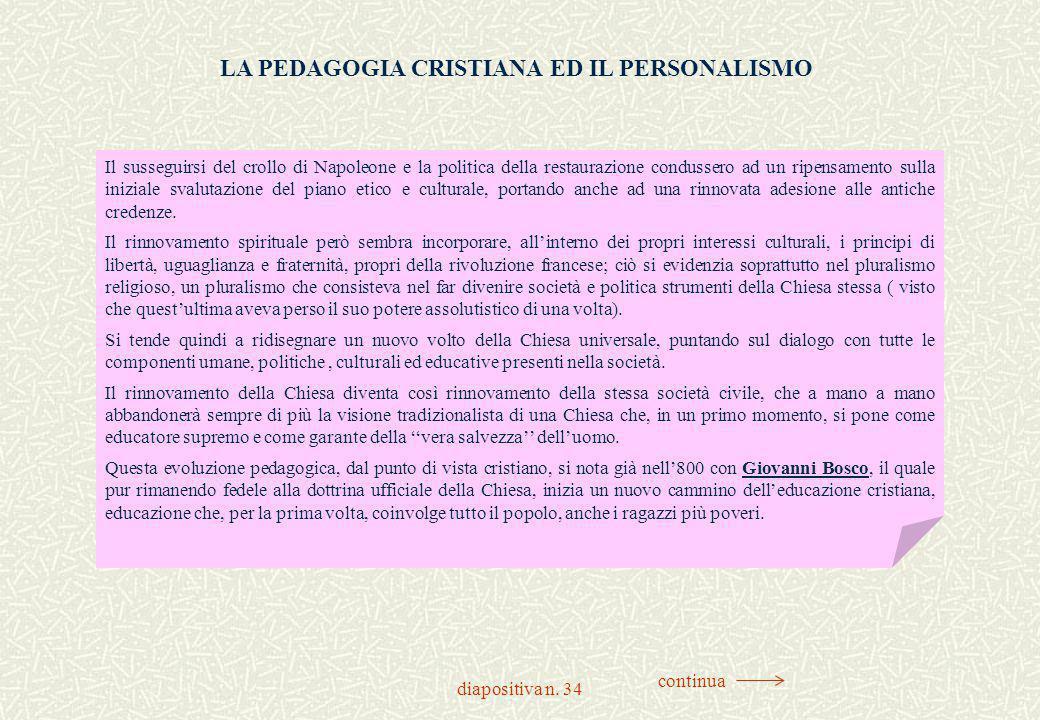 LA PEDAGOGIA CRISTIANA ED IL PERSONALISMO
