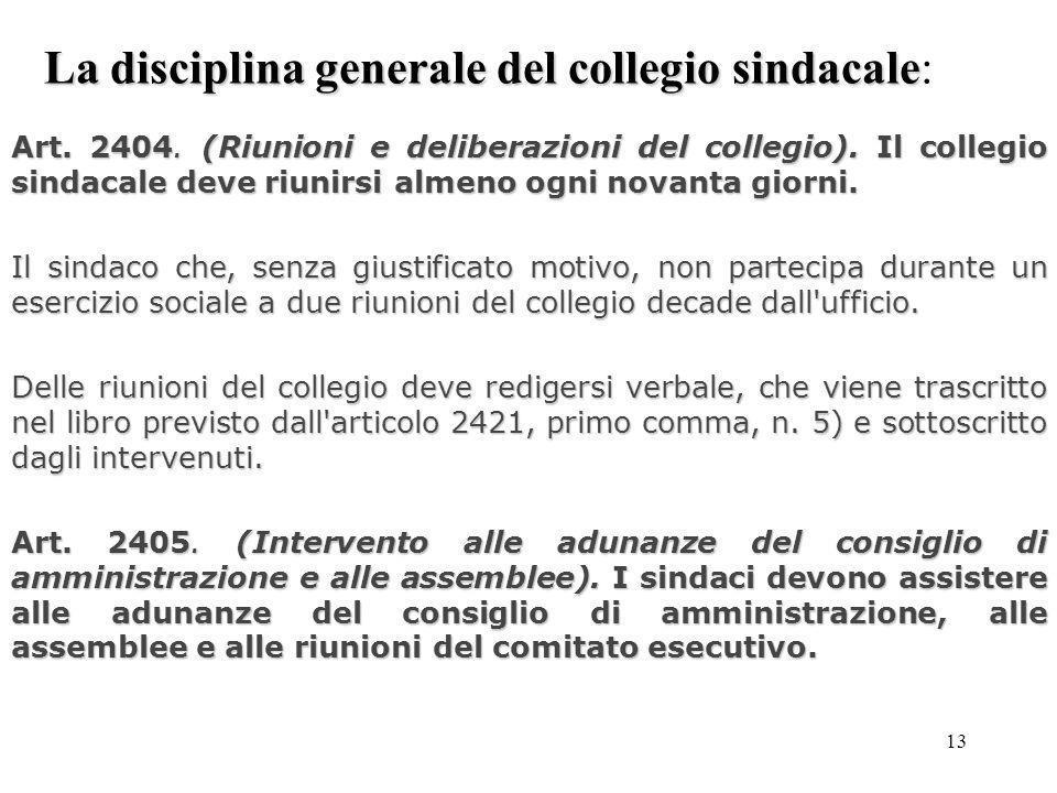 La disciplina generale del collegio sindacale: