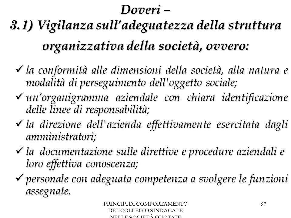 PRINCIPI DI COMPORTAMENTO DEL COLLEGIO SINDACALE NELLE SOCIETÀ QUOTATE