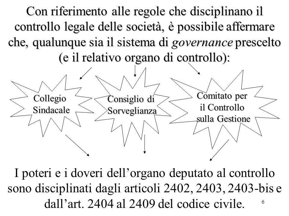 Con riferimento alle regole che disciplinano il controllo legale delle società, è possibile affermare che, qualunque sia il sistema di governance prescelto (e il relativo organo di controllo):