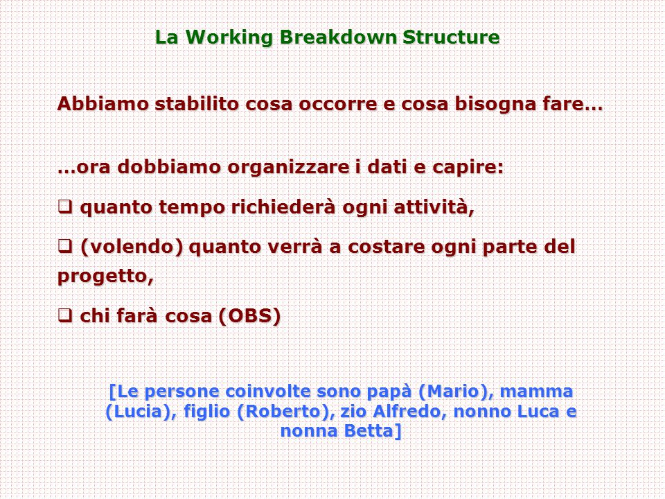 La Working Breakdown Structure
