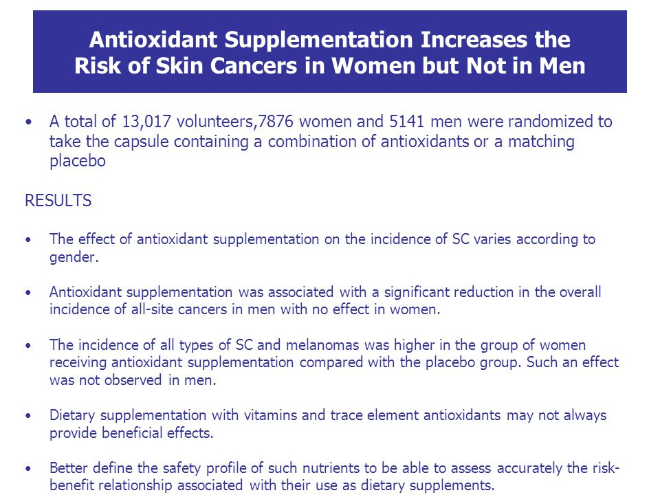 Antioxidant Supplementation Increases the Risk of Skin Cancers in Women but Not in Men