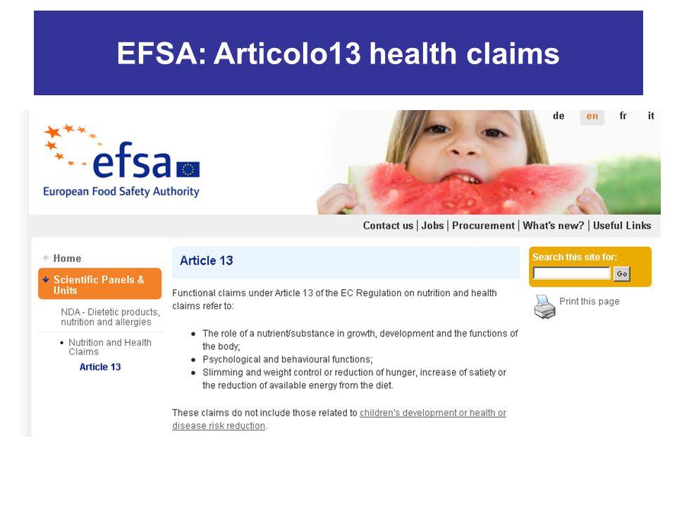 EFSA: Articolo13 health claims