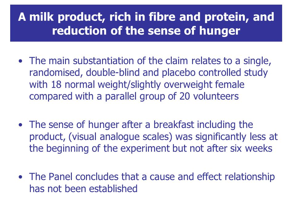 A milk product, rich in fibre and protein, and reduction of the sense of hunger