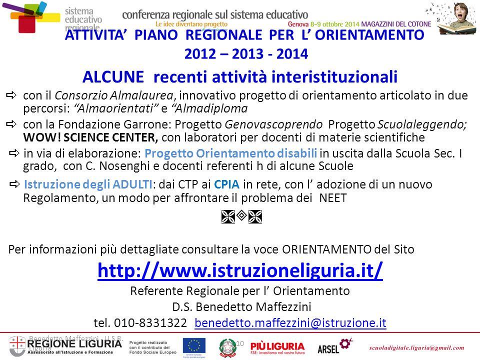ATTIVITA' PIANO REGIONALE PER L' ORIENTAMENTO 2012 – 2013 - 2014