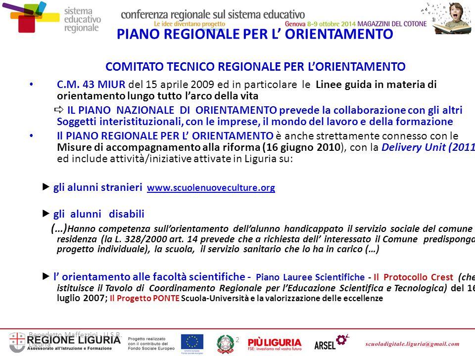 PIANO REGIONALE PER L' ORIENTAMENTO COMITATO TECNICO REGIONALE PER L'ORIENTAMENTO