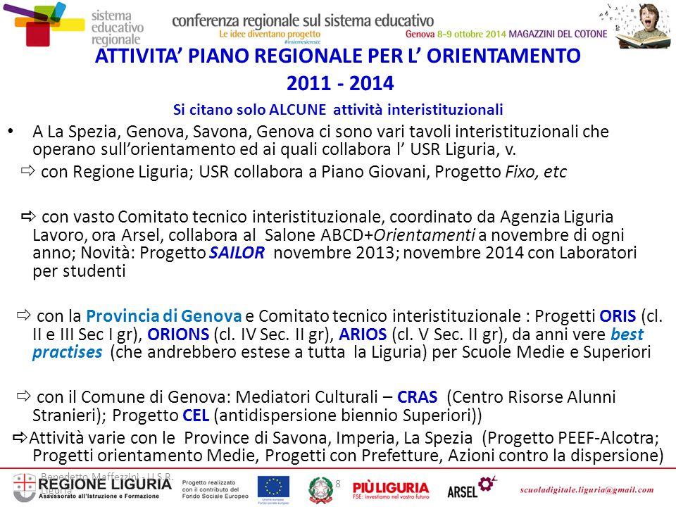 ATTIVITA' PIANO REGIONALE PER L' ORIENTAMENTO 2011 - 2014