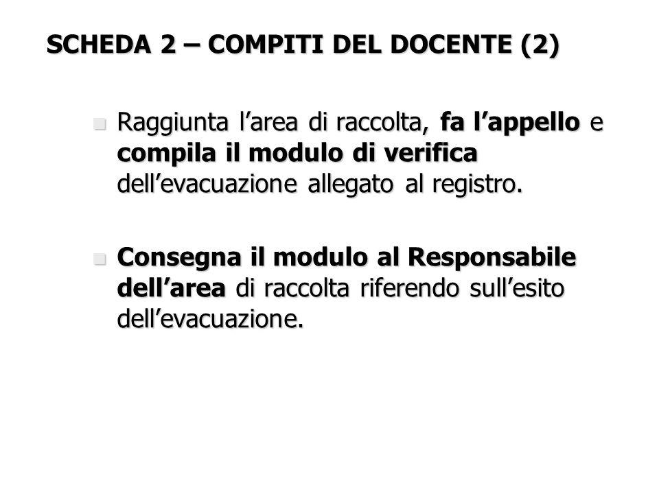 SCHEDA 2 – COMPITI DEL DOCENTE (2)