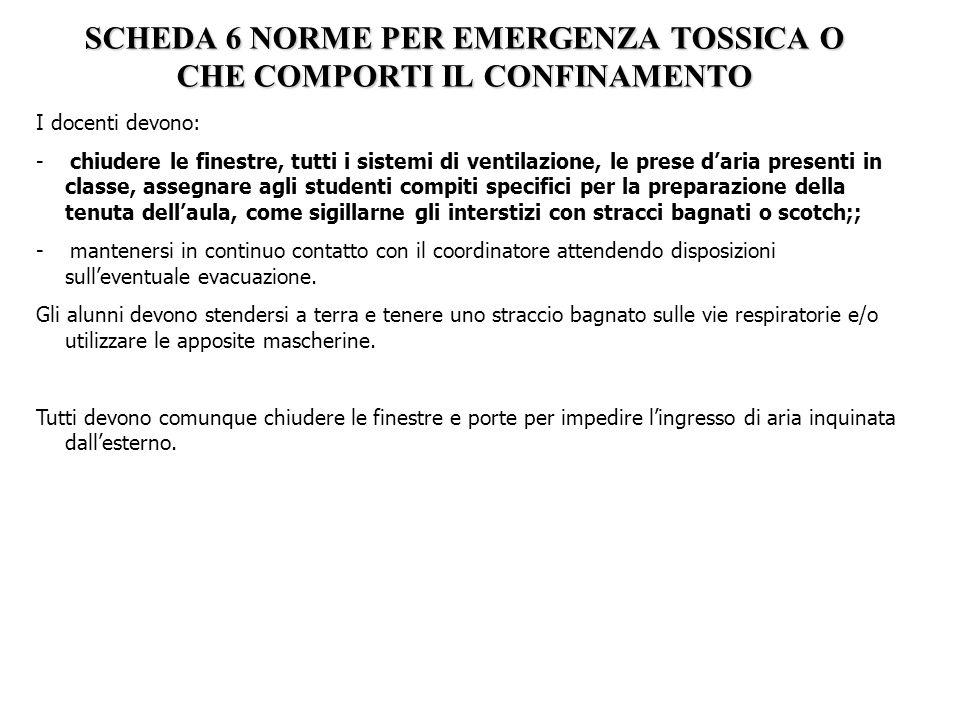 SCHEDA 6 NORME PER EMERGENZA TOSSICA O CHE COMPORTI IL CONFINAMENTO