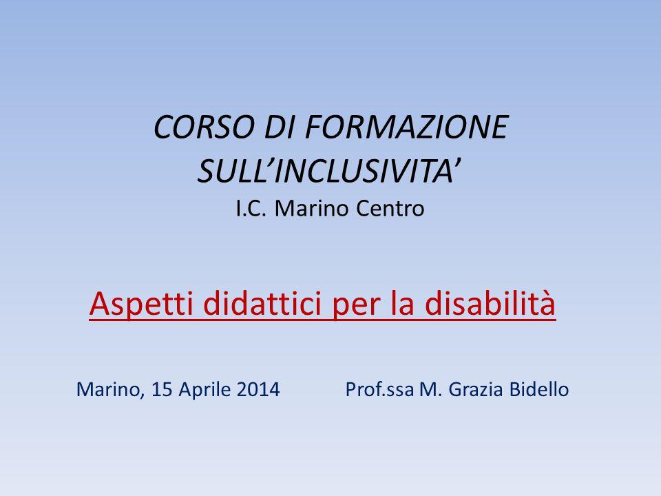 CORSO DI FORMAZIONE SULL'INCLUSIVITA' I.C. Marino Centro