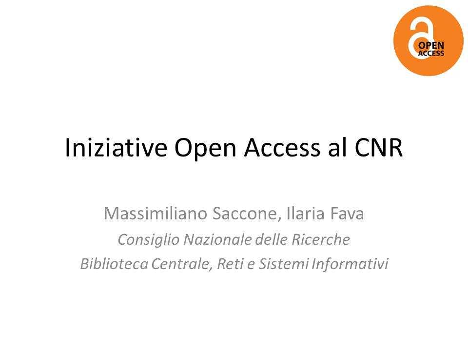 Iniziative Open Access al CNR