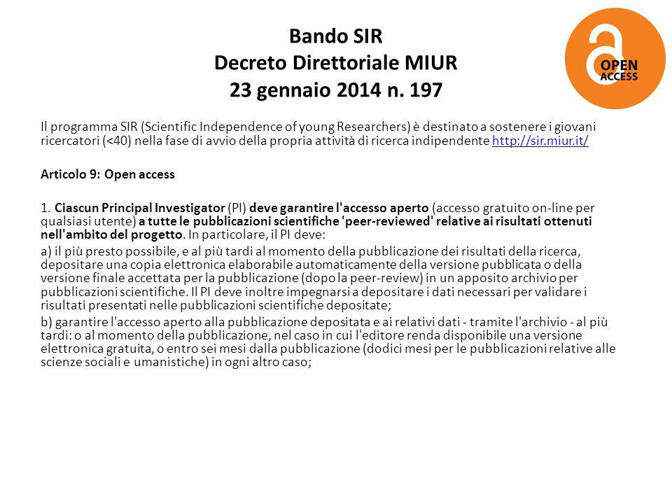 Bando SIR Decreto Direttoriale MIUR 23 gennaio 2014 n. 197