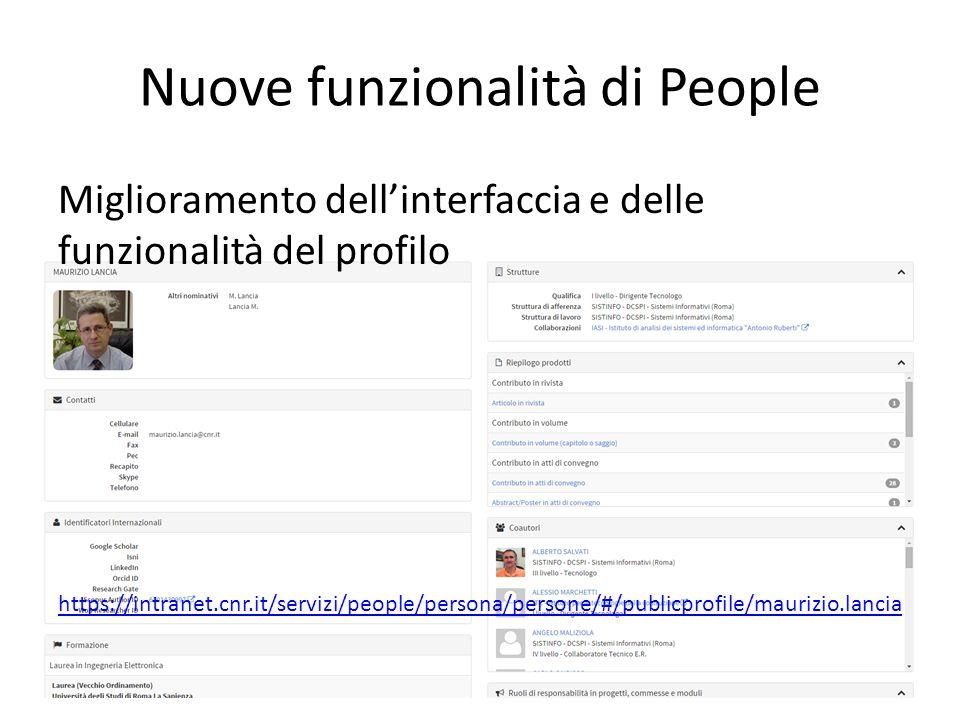 Nuove funzionalità di People