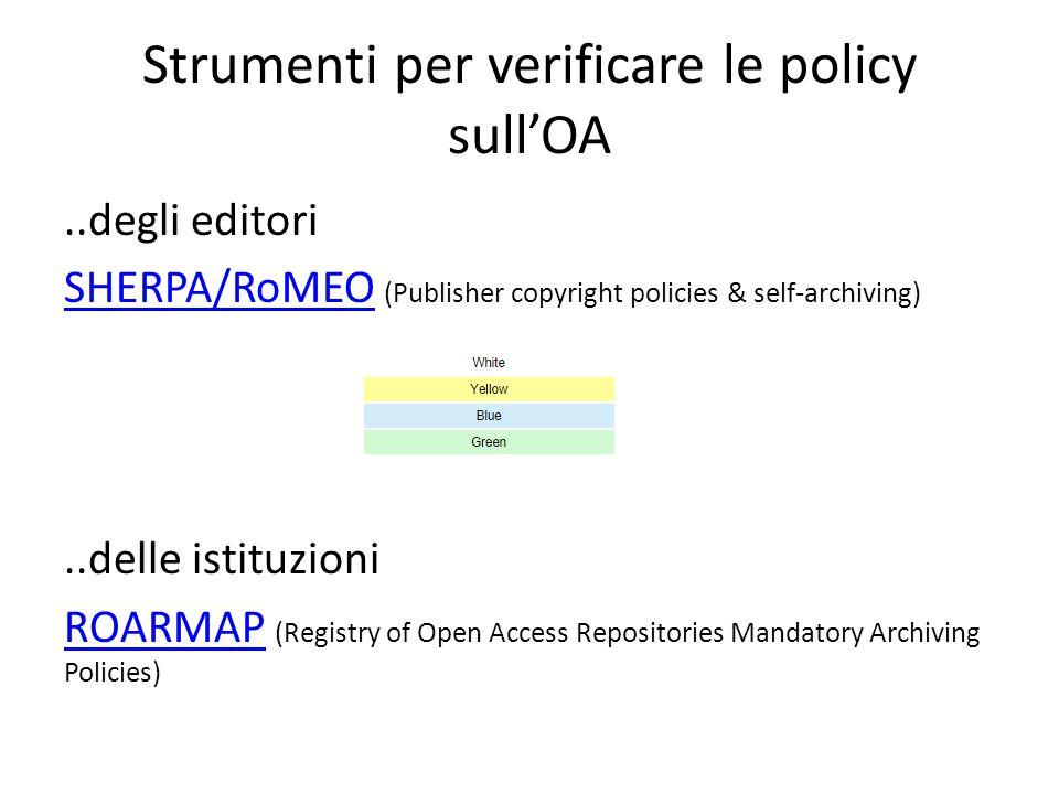Strumenti per verificare le policy sull'OA