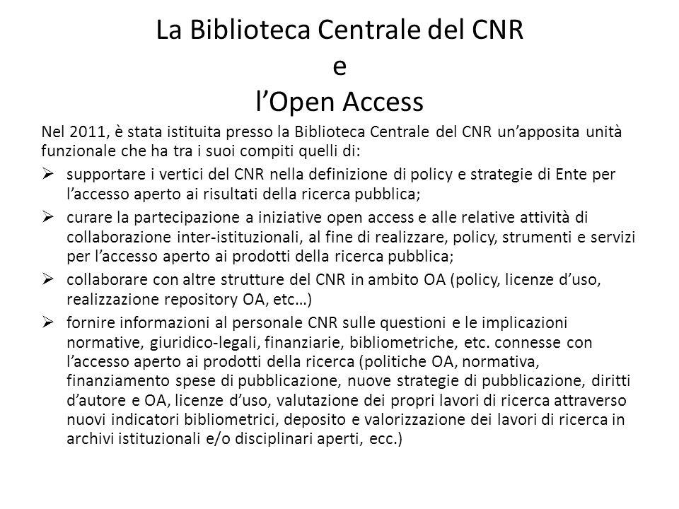 La Biblioteca Centrale del CNR e l'Open Access