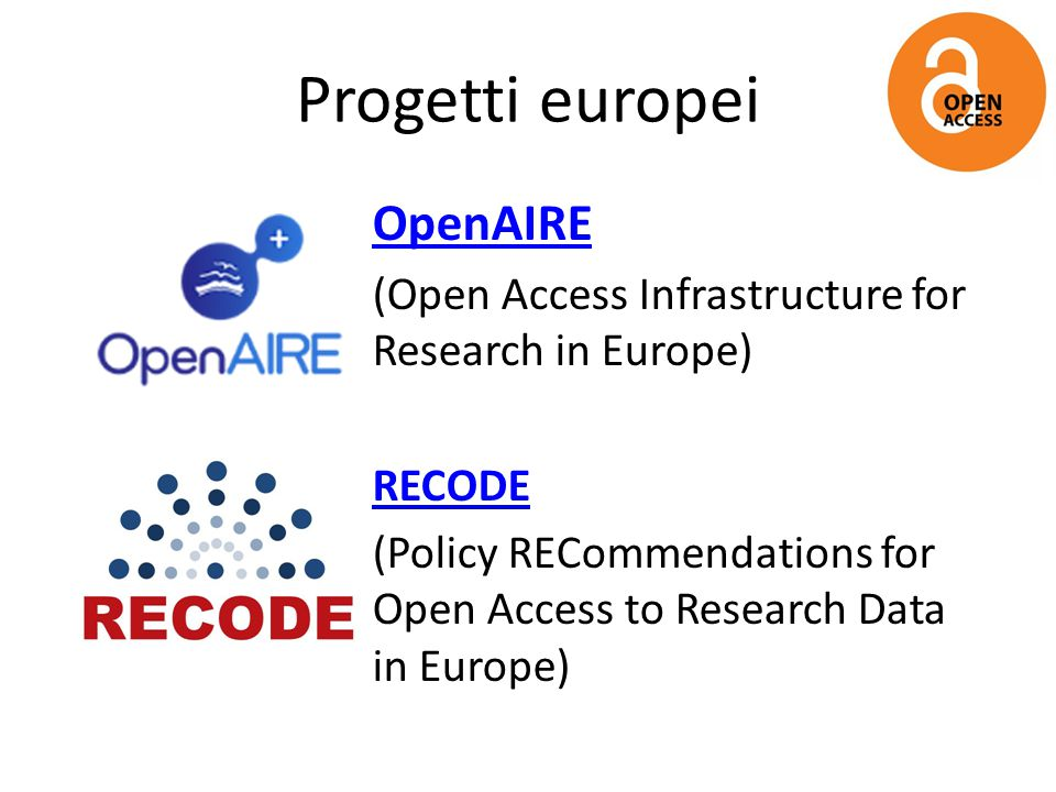 Progetti europei OpenAIRE