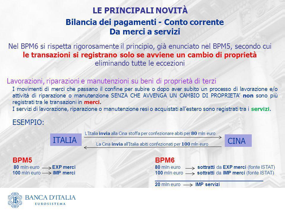 Bilancia dei pagamenti - Conto corrente Da merci a servizi