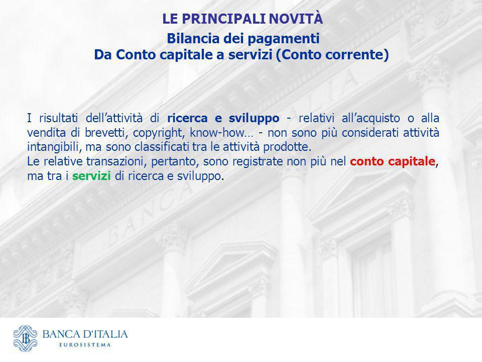 Bilancia dei pagamenti Da Conto capitale a servizi (Conto corrente)