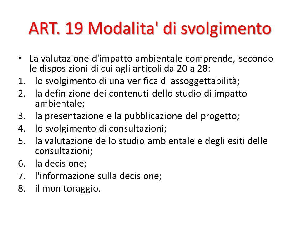 ART. 19 Modalita di svolgimento