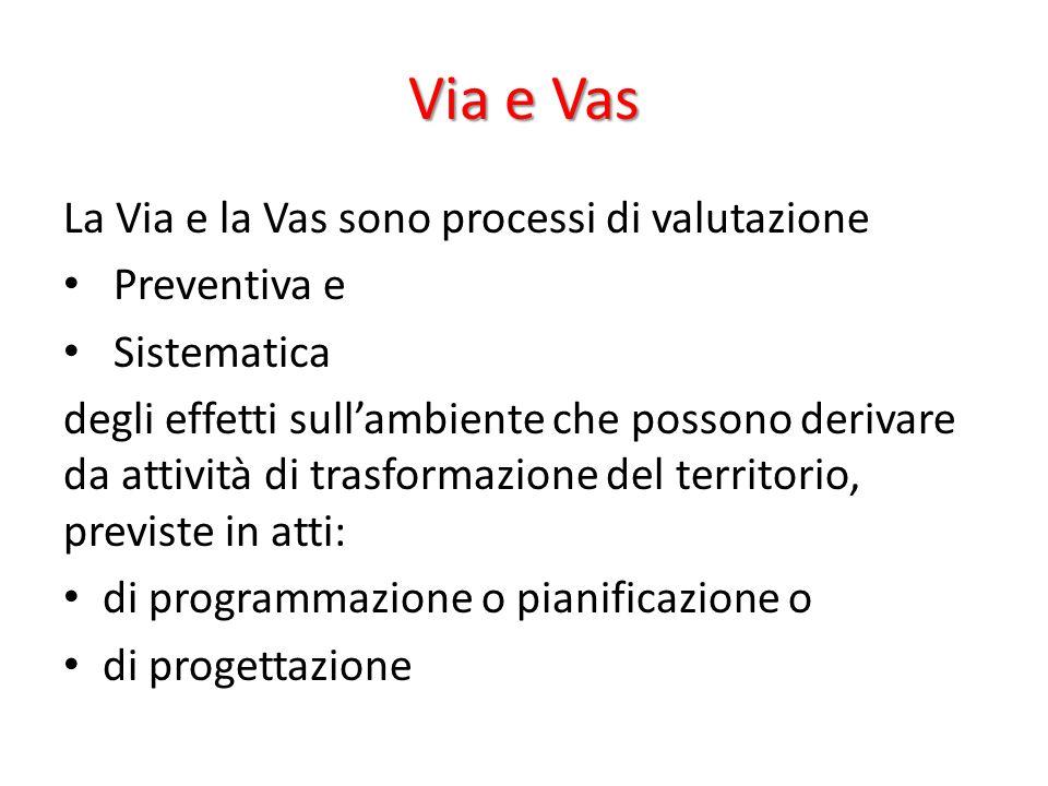 Via e Vas La Via e la Vas sono processi di valutazione Preventiva e