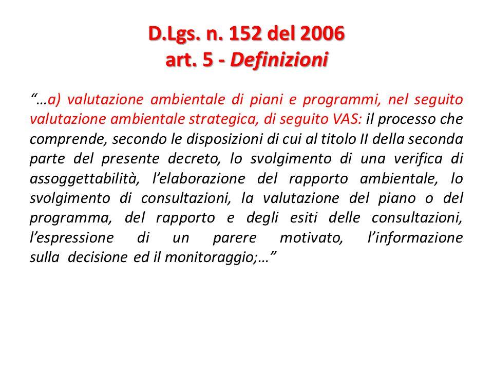 D.Lgs. n. 152 del 2006 art. 5 - Definizioni