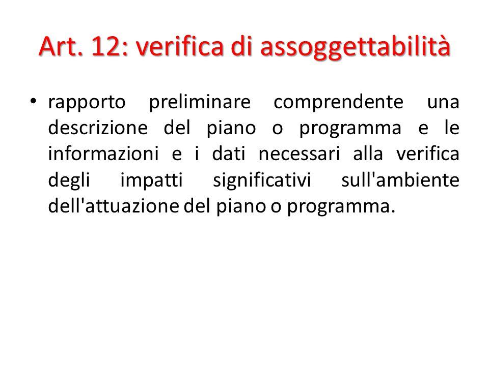 Art. 12: verifica di assoggettabilità