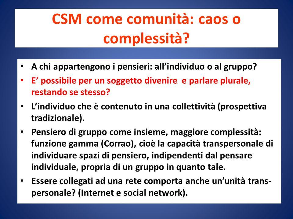 CSM come comunità: caos o complessità