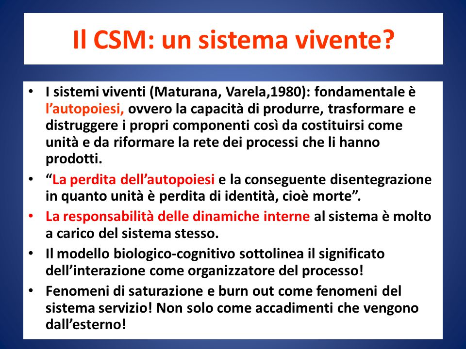 Il CSM: un sistema vivente