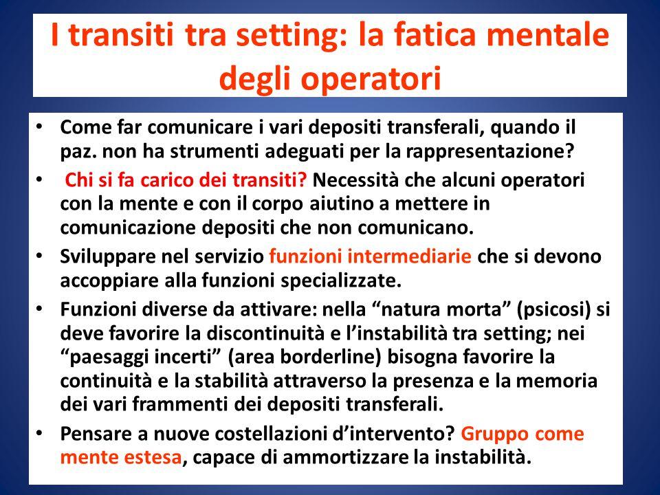 I transiti tra setting: la fatica mentale degli operatori