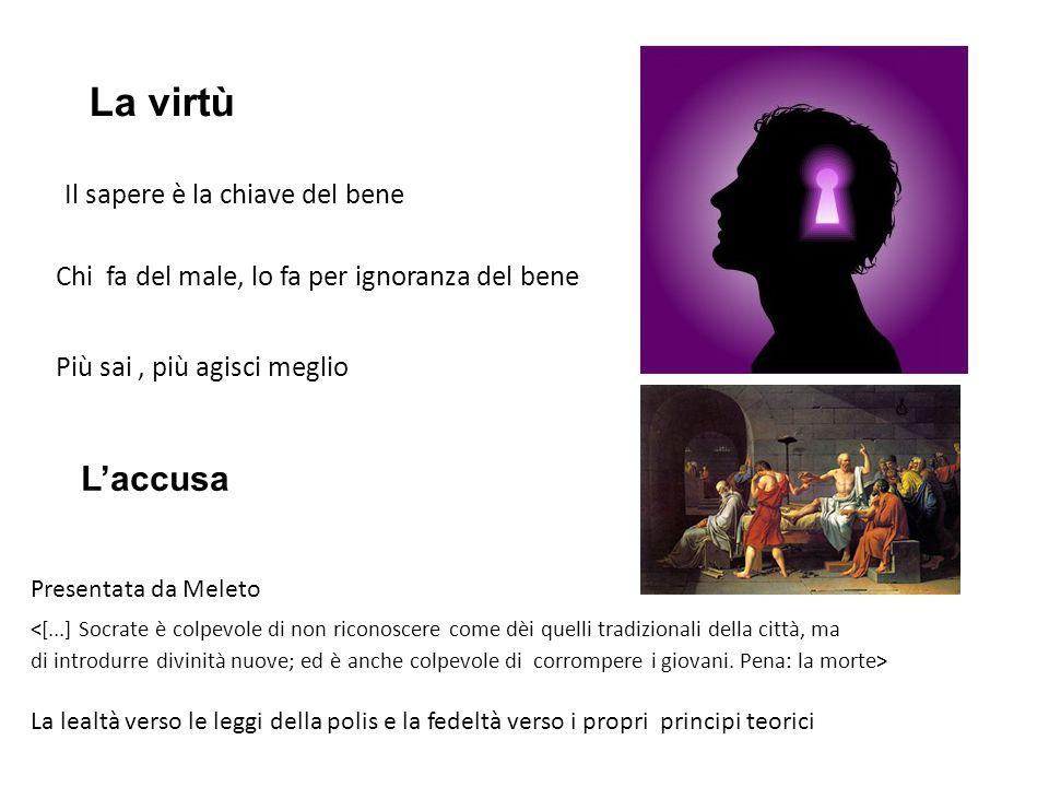 La virtù L'accusa Il sapere è la chiave del bene
