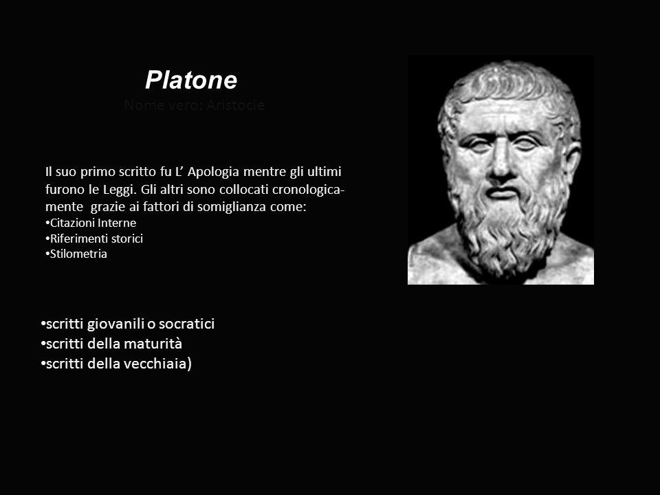 Platone Nome vero: Aristocle scritti giovanili o socratici